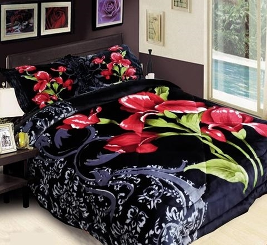 ALESSANDRO FASHIONS. 3pc Thick Blk Flower Borrego